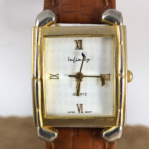 Infinity Golfers Watch Gold Brown Leather